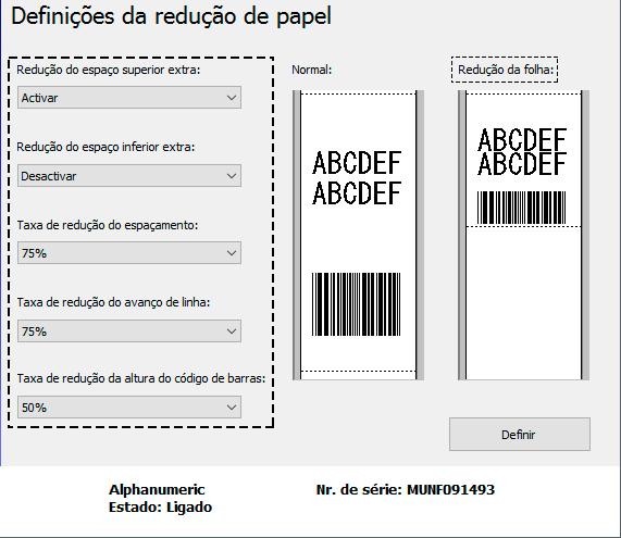 Configuração de Impressão (Redução da Folha) via DLL da
