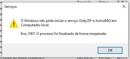 Falha ao iniciar Serviço Oobj DF-e ActiveMQ após atualização